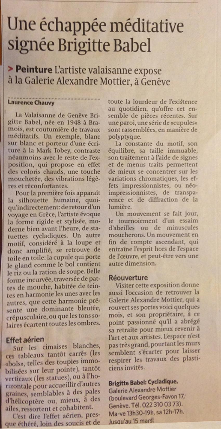 Le Temps - lundi 24 février 2014 - Laurence Chauvy